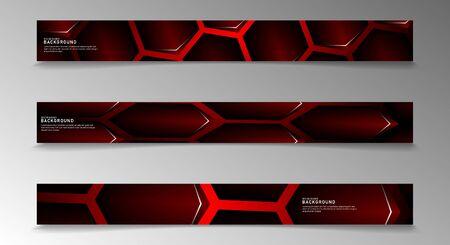 Collection of rectangular banners. Geometric background dark red hexagon shape. vector design
