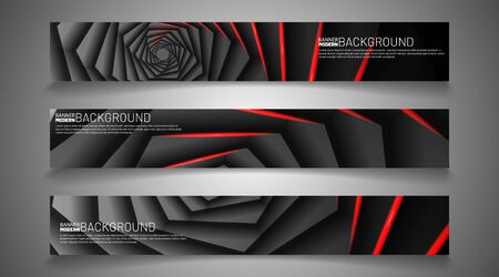 collection vector banners. hexagon shadow with a red light. web design, presentation, advertising, etc.