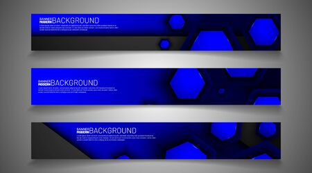 collection vector banners. overlapping blue hexagon background. web design, presentation, advertising, etc.
