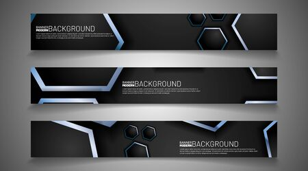 collection vector banners. overlapping blue hexagon lines on a gray background. web design, presentation, advertising, etc.