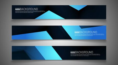collection vector banners. blue geometric shapes with a dark background. web design, presentation, advertising, etc.