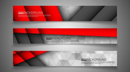 Collection of abstract banner backgrounds. Geometric shapes overlapping red and white gray. vector illustration of graphic design Иллюстрация