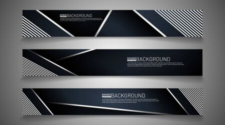 Collection of abstract banner backgrounds. Overlapping geometric shapes, dark blue, white lines. vector illustration of graphic design