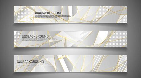 Collection of abstract banner backgrounds. Geometric shapes and circle patterns that overlap with gold lines. vector illustration of graphic design