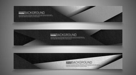 Collection of abstract banner backgrounds. Geometric shapes overlap gray. vector illustration of graphic design