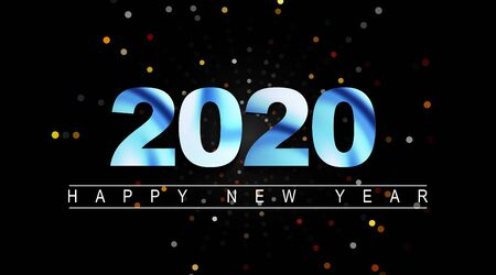 Vector abstract background, Happy New Year 2020 in blue and in a dark background