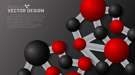 abstract vector background. red and black molecules with shadows on a dark background. 3D illustration of circle connected in EPS 10