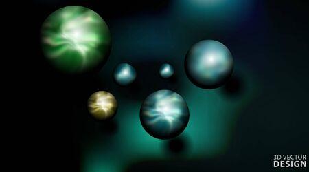 Realistic 3d ball vector illustration. sphere in dark background