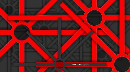 abstract vector background. Red geometric shapes overlap gray colors on a dark background.