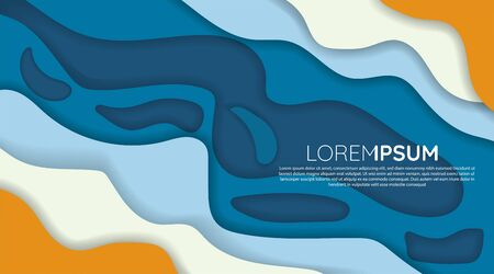 Abstract background design templates. blue, white, orange wave papercut. vector design illustrator eps 10