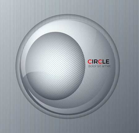 Background on radial gray lines. Abstract circle design 3D background