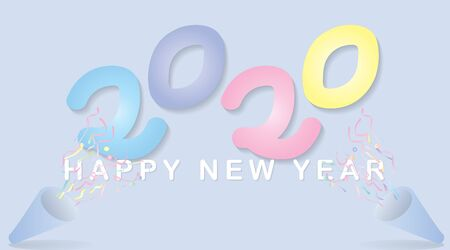 Happy New 2020 Year. Holiday vector illustration . minimalist pastel color , numbers 2020. Festival poster or banner design