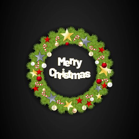 Merry Christmas with round leaves, stars and candy. vector illustration with black background
