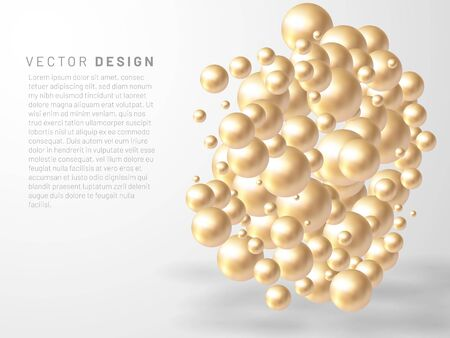 Vector illustration of overlapping abstract balls or bubbles. Realistic 3D sign. suitable for any background Ilustração
