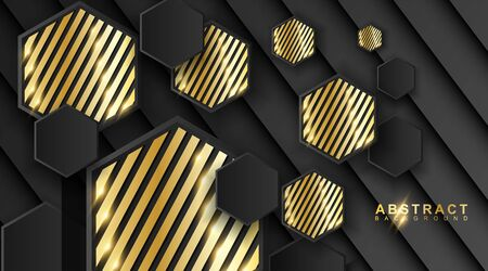 Abstract geometric background. 3D vector illustration. Triangle or black pyramid shape. hexagon with a golden stripe pattern.