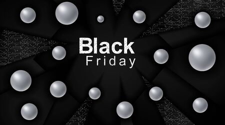 Black Friday sales poster. Black triangle background technology with connected dots and line patterns. 3d Metal Sphere. Vector illustration of a business. Advertising sign.