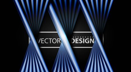 abstract vector background, blue metal line design patterns overlap with shadows. Ilustração
