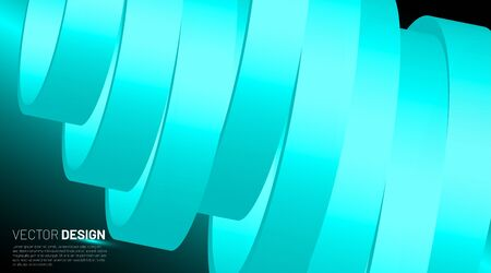Futuristic vector illustration. Abstract background with lined ring shape. 3d vector with curved ribbons.