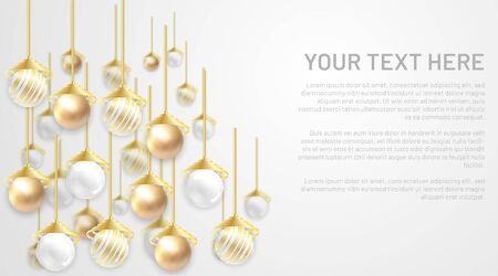 golden and silver pearl vector ball. background with blank space for your text Ilustração