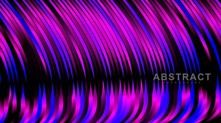abstract vector background. wavy line patterns with blue and pink gradients. illustration of a dark glowing vector design Ilustração