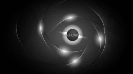 Abstract background lines and light surrounding a circle. Vector technology digital design Illustration