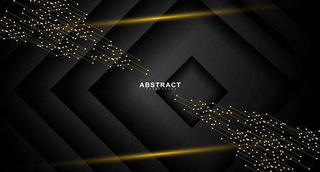 black abstract vector background. connected lines and dots on gradient black background . design technology