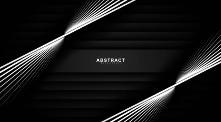 black abstract vector background. overlapping white lines and black gradients. design technology