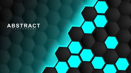 abstract vector background. Geometric black hexagonal. Surface polygon pattern with light blue hexagon, honeycomb. 3D design illustration technology