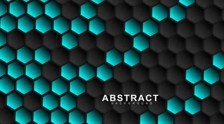 abstract vector background. Geometric black hexagonal. Surface polygon pattern with blue hexagon, honeycomb. 3D design illustration technology