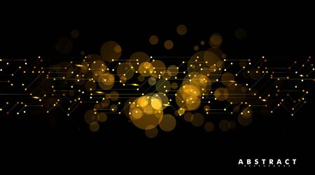Geometric patterns with connected lines and points. Abstract golden circle Bokeh background. vector design illustration.