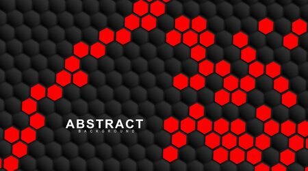 abstract vector background. Geometric black hexagonal. Surface polygon pattern with red hexagon, honeycomb. 3D design illustration technology