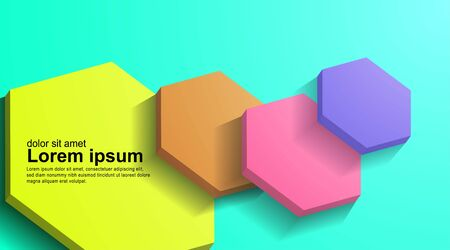 overlapping abstract vector 3d hexagon background with pastel colors