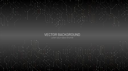 vector of modern abstract technology. The concept of connection design with a black gradient background. Vector illustrations for banners, backgrounds, etc Ilustração