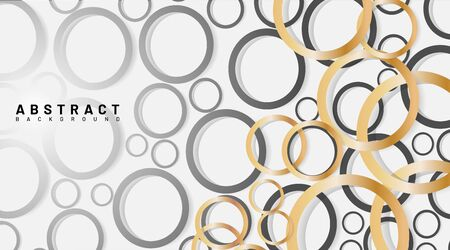 abstract vector background. overlapping golden and gray circles. design illustration