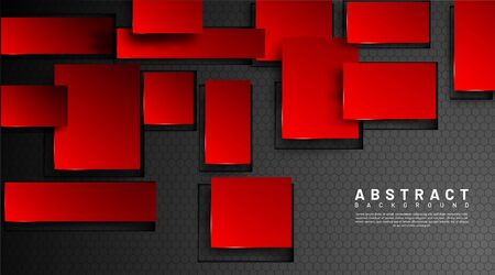 Abstract 3d geometric red squares vector. hexagon background .design for banners, wallpaper, web, etc.