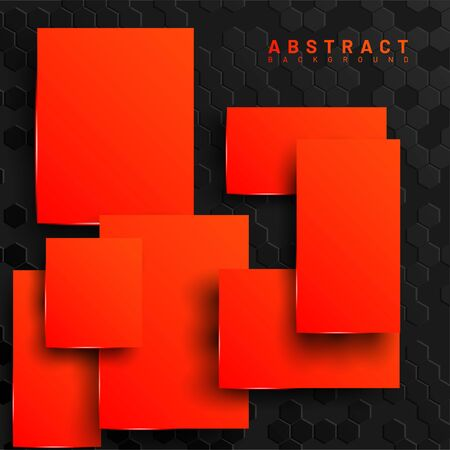 Abstract 3d geometric orange squares vector. hexagon background .design for banners, wallpaper, web, etc.