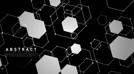 abstract vector background. overlapping shapes and hexagon lines. Vector Illustration For Wallpaper, Banner, Background, Card, Book Illustration, landing page