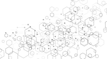 abstract vector background. Concept hexagon with lines and dots .Vector Illustration For Wallpaper, Banner, Background, Card, landing page , etc