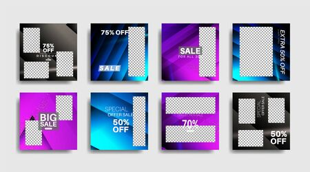 Modern promotion square web banner for social media . vector design illustration