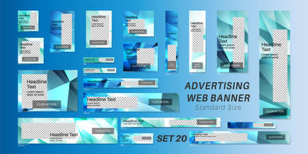 Vector set ad web banner with standard size. Geometric shape template design. Vektorové ilustrace