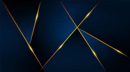 Modern geometric luxury card template for business or presentation with golden lines on a dark blue background Vektorgrafik