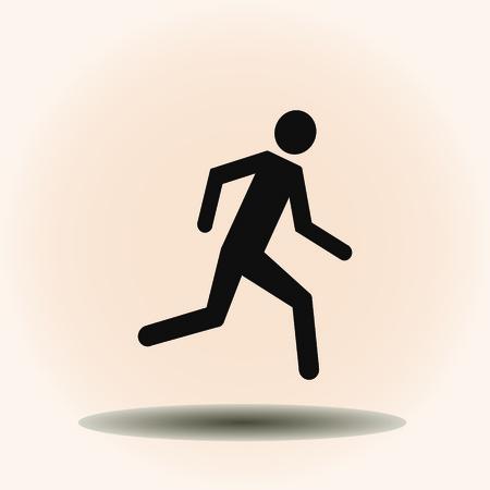 black professional: running man icon. Flat design style