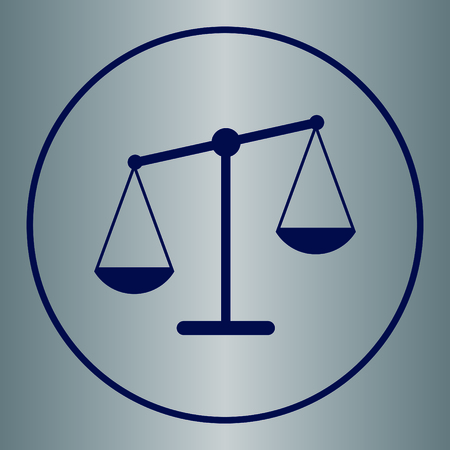 balance icon: Vector scales balance icon in flat style. White silhouette of Libra