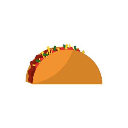 Taco flat style icon design,  fast food, meal theme illustration