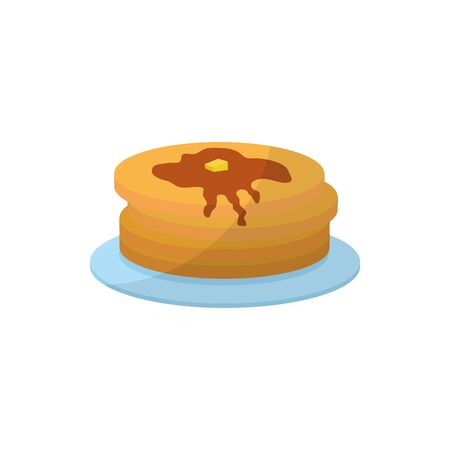 Sweet pancakes flat style icon design, dessert food illustration