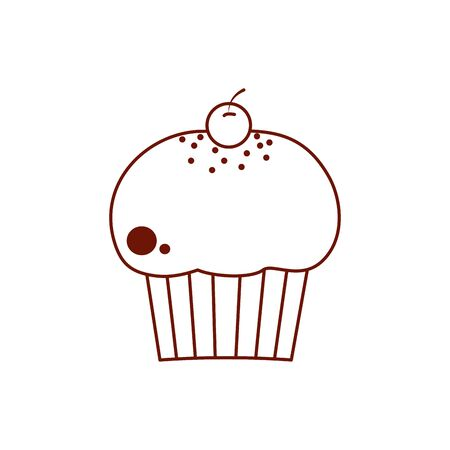 Sweet muffin line style icon design, dessert food delicious sugar snack and tasty theme Vector illustration