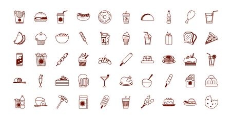Line style icon set design, Eat fast food restaurant menu dinner lunch cooking and meal theme Vector illustration