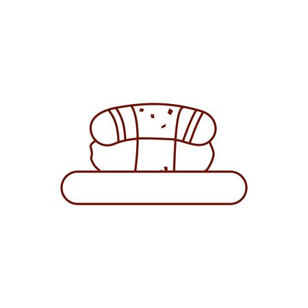 Sushi line style icon design, Eat fast food restaurant menu dinner lunch cooking and meal theme Vector illustration