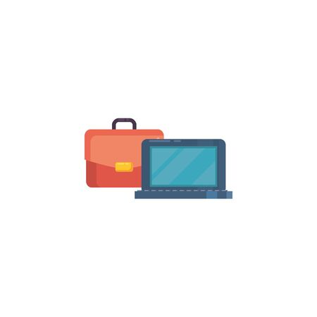 Suitcase bag and laptop fill style icon design, Case office school university travel baggage luggage handle leather and trip theme Vector illustration