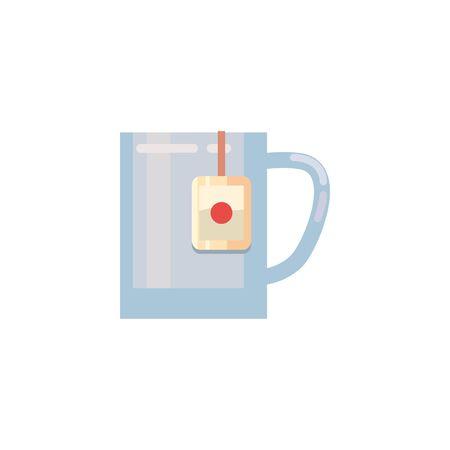Tea mug fill style icon design, Time drink breakfast beverage hot porcelain ceramic english and invitation theme Vector illustration Иллюстрация